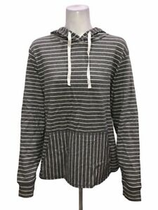 AnyBody Loungewear Cozy Knit Light French Terry Hoodie Grey Stripe 1X Plus Size