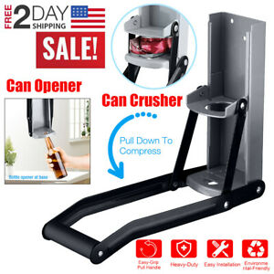 Can Crusher Wall-Mounted Beer Bottles Smasher Opener Heavy-Duty Recycling Tool