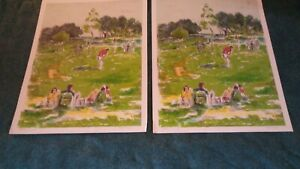 2 PAT BERGER SIGNED AND NUMBERED LITHOGRAPHS GOLF SCENE $44.99