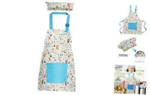 Jennice House Kids Apron and Chef Hat Set, Cute Children Small Blue Animals