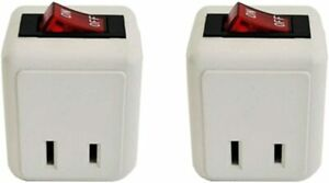 Lot 2-Pack 2-Prong Wall Tap with Lighted On/Off Power Switch Single Outlet  ETL