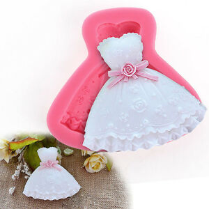DIY 3D Dress Shape Silicone Lace Fondant Mold Sugar Candy Cake Decorating Mould