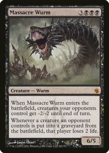 Magic the Gathering MTG 1 Massacre Wurm x1 LP NM Mirrodin Besieged 4x Available