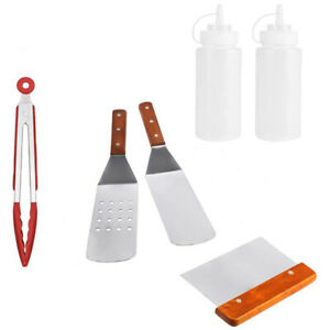 Griddle Accessory Tool Kit,Stainless Steel BBQ Grill and Griddle Spatulas  C6N0