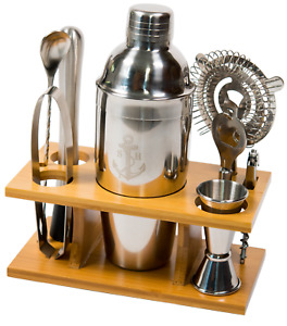 Stock Harbor 9 Piece Stainless Steel Bartender Set with Bamboo Base Cocktail Set