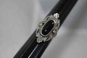 Onyx Marcasite Art Deco Ring Marked J Sterling Silver Ring size 8 4320 $24.99