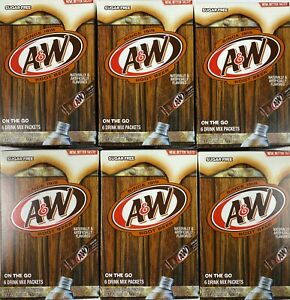 6 Boxes A&W Root Beer Water Drink Mix Singles to Go 36 total Packets Sugar Free