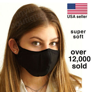 Face Mask - Soft Black Cotton Multi Layer Unisex Washable Reusable - USA seller