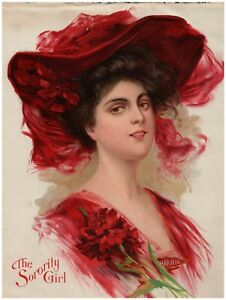 1910 Harvard The Sorority Girl Chromolithograph Print 8 34 x 11 34  $57.50