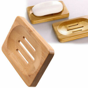 1Pcs Natural Bamboo Wooden Bathroom Shower Soap Holder Tray Dish Storage Plate