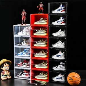 Magnetic Side Open Storage Shoe Box Stackable Foldable Storage Sneaker Storage B
