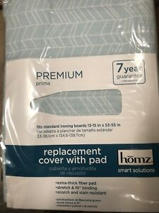 Homz Standard Ironing Board with Foam Pad Sky Blue Cover New