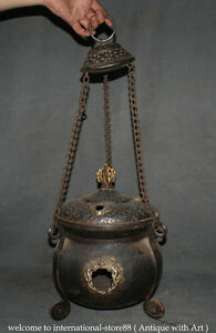16 Old Chinese Dynasty Buddhism Bronze Dragon Hang Incense Burner Censer