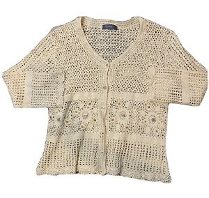KORET Cream Solid Open Weave Knit V Neck Button Down Short Sleeve Sweater Sz S $19.92