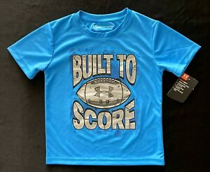Under Armour Boys S S Ether Blue heatgear 'BUILT TO SCORE' Graphic T Shirt Tee $8.99
