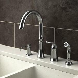 Single Handle Standard 4-Hole Kitchen Faucet With Side Spray And Soap Dispenser