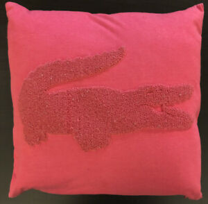 Lacoste Throw Pillow Pink 16x16 Washable Zippered Case amp; Pillow