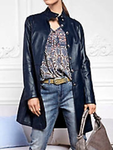 Linea Tesini size 12 blue leather COAT Military Buttons Long £359 Luxury