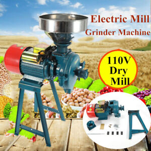 Dry Electric Flour Feed Mill Cereals Grinder Rice Corn Grain Coffee Wheat 110V