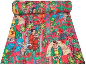 Cotton Kantha Indian Handmade Boho Red Fruits Blanket Quilt Throw Twin Bed Cover