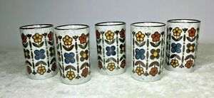 VINTAGE Speckled Ceramic White Brown Multi Colored Floral Set of 5 Juice Cups