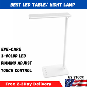 Dimmable LED Desk Lamp Touch Control Eye-Caring Working Reading Lamp [3-Color]