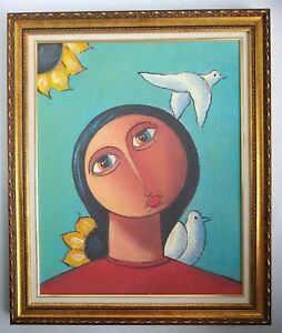 Signed Original Framed Painting on Canvas Girl Doves Sunflowers 29.75x35.75 $188.99