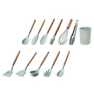 Non Stick Spatula Food Tong Kitchen Cooking Utensil with Holder Kitchenware