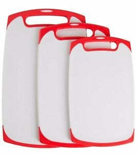 Plastic Cutting Boards Set of 3 Small Medium Large With Non Slip Feet