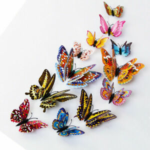 12Pcs 3D Glow in The Dark Butterfly Wall Decal Removable Sticker Bedroom Decor A