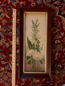 Antique Victorian Chromolithograph Lithograph Print Framed Flowers 11X23 Inches