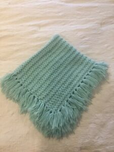 Vintage Hand Made Blanket Crochet Knit Afghan GreenColor Throw