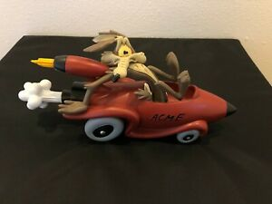 Looney Tunes Wile E Coyote in Rocket Car Acme Statue