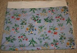 Strawberry Floral Blue Twin Flat Sheet Full Bloom Fruit Cotton Liz Claiborne USA