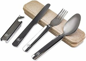 Reusable Travel Utensils with Case: Portable 4 Piece Utensil Set with Knife