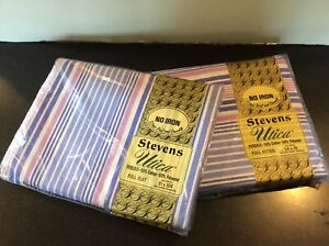 Retro Stevens Utica Purple Stripe  Full Flat Sheet And Full Fitted Sheet Set New
