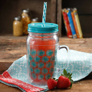 The PIONEER WOMAN Simple 32Oz Plastic/Acrylic Double-Wall Mason Jars With Lid.