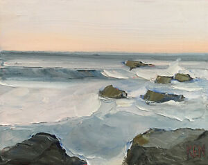 PACIFIC SPRING FIVE Original Expression Seascape Oil Painting 8x10 041820 KEN $31.95