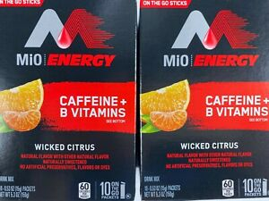 Mio Energy 2 Boxes Wicked Citrus On the Go Water Drink Mix Caffeine B Vitamins