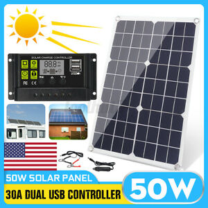 50W USB Flexible Solar Panel Kit + 10A/30A Controller Outdoor Charger    P