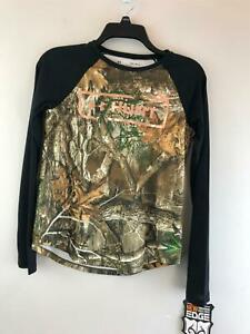 Boy#x27;s Youth Under Armour Real Tree Long Sleeve Shirt Size Youth L Black Camo