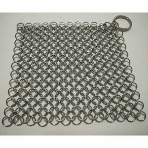 The Ringer Stainless Steel Chain Mail Palm Cast Iron Skillet Cleaner Brush Tool