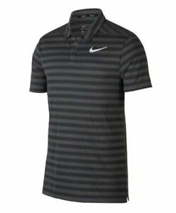 Nike NEW Mens Small S Grey Dri FIT Striped Golf Polo Shirt 890103 060 $65 $36.31