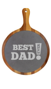 Engraved ROUND ACACIA WOOD/SLATE SERVING BOARD WITH HANDLE - Father's Day Gift