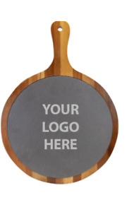 Custom Engraved ROUND ACACIA WOOD/SLATE SERVING BOARD WITH HANDLE - YOUR LOGO