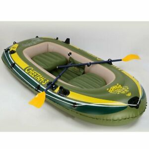 4Persons Inflatable Fishing Boat Aluminum Oars and Air Pump Water Camouflage