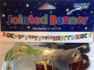 Happy 18th Birthday Jointed Letter Banner 7 ft.