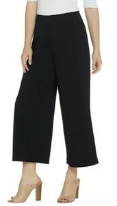 Susan Graver Milano Knit Wide Leg Crop Pants A310712 Black