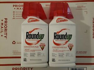 *LOT OF 2* Roundup CONCENTRATE PLUS 35.2 oz  Weed + Grass Killer 70.4 oz Total!
