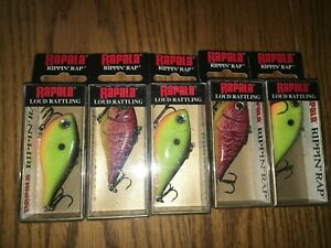 RAPALA RIPPIN RAP 06's----5 with 2 COLORED FISHING LURES